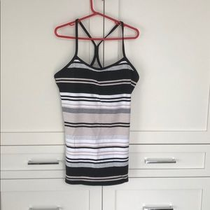 Lululemon Power white black striped top